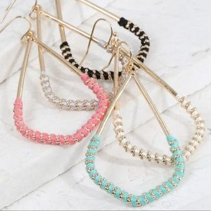 Jewelry - Pink Thread Wrapped Marquee Earrings